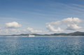 Yacht on the horizon beautiful adriatic coast near zadar croatia Royalty Free Stock Photo