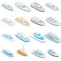 Yacht icons set, isometric 3d style