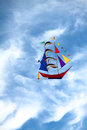 Yacht kite on blue sky background Royalty Free Stock Photo
