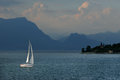 A yacht on lago di garda italy Stock Photo