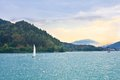 Yacht on lake worth austria worthersee Royalty Free Stock Images