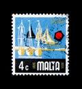 Yacht Marina, Aspects of Malta serie, circa 1973 Royalty Free Stock Photo