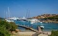 Yacht marina and small sand beach at Porto Cervo bay Royalty Free Stock Photo
