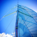 Yacht mast, rigging and sails on a sailboat Royalty Free Stock Photo