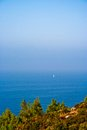 Yacht at the mediterranean sea far away Royalty Free Stock Photography