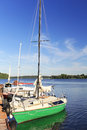 Yacht moored to the shore lithuania lithuania plateliai lake Stock Photography