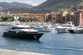 Yacht named Blue Vision departs from a harbor of Nice Royalty Free Stock Photo