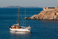 Yacht near Hydros island, Greece Stock Photos