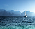 Yacht and ocean krabi province thailand Royalty Free Stock Images