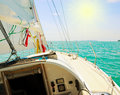 Yacht in the open sea image of a beautiful on a sunny day Royalty Free Stock Image
