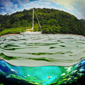 Yacht in the open sea image of a beautiful on a sunny day Stock Image