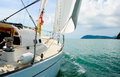 Yacht in the open sea image of a beautiful on a sunny day Stock Images