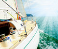Yacht in the open sea image of a beautiful on a sunny day Royalty Free Stock Photography