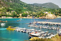 Yacht port of Paleokastritsa bay Stock Photos