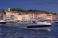 Yacht in port of saint tropez france Stock Photos