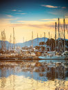 Yacht port at suset Royalty Free Stock Photo