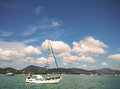 Yacht Sailboat at sea in the beautiful sky Royalty Free Stock Photo
