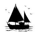 Yacht, sailboats and gull silhouette