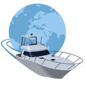Yacht sailing around the world Royalty Free Stock Photo