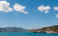 Yacht sailing Greek island Poros Stock Image