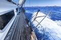 Yacht in sailing regatta. Luxury yachts. Royalty Free Stock Photo