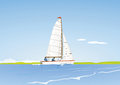 Yacht sailing at sea Royalty Free Stock Photo