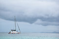 Yacht Sailing in Stormy Sea. Royalty Free Stock Photo
