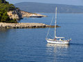 Yacht sailing a to the open aegean sea Stock Images