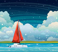 Yacht, sea, clouds and night sky. Summer landscape.