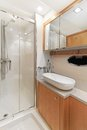 Yacht shower luxurious bathroom interior with in Stock Photography
