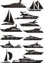 Yacht silhouettes Royalty Free Stock Photo