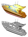 Yacht, speed boat, vector illustration
