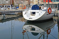 Yacht stern reflection the of a reflected in the still water Royalty Free Stock Images