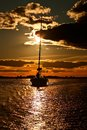 Yacht at sunset. Royalty Free Stock Images