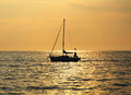Yacht at sunset, Adriatic Sea Stock Photo
