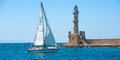 Yacht under sail at Chania, Crete Royalty Free Stock Photo