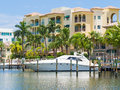 Yacht and waterfront home at Fort Lauderdale in Florida Royalty Free Stock Photo
