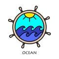 Yacht wheel symbol. Helm silhouette