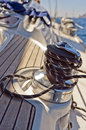 Yacht winch on the deck of a sailing Stock Image