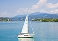 Yacht worthersee austria on lake worth Stock Image