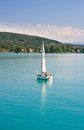 Yacht worthersee austria on lake worth Stock Images