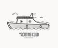 Yachting Club Logo in Thin Line Design