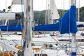 Yachting parts of sailboat in port of sailing coiled rope sail details yacht Royalty Free Stock Images