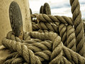 Yachting parts of yacht nautical ship rope sailboat in the sea view different mooring detail a sailing boat Royalty Free Stock Photos