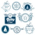 Yachting sketch emblems set Royalty Free Stock Photo