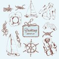 Yachting sketch set Royalty Free Stock Photo