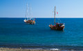 Yachts in bay two the sea Royalty Free Stock Photography