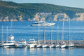 Yachts and boats komiza croatia august in the harbour of komiza on the island of vis in croatia Royalty Free Stock Photos