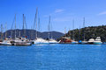 Yachts and boats in marina turkey Stock Photos