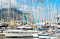 Yachts and boats in old port in palermo called cala italy Royalty Free Stock Photo
